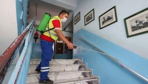 Okullar sınav öncesi dezenfekte edildi