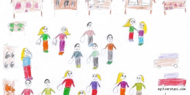 Öğrenciler sevgilerini resimlere yansıttı